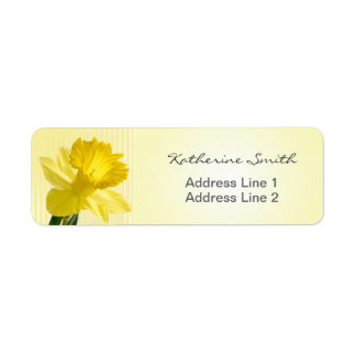 Return Address Yellow Daffodil Picture and Stripes Label