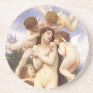 Return of Spring by Bouguereau, Vintage Angels Beverage Coasters
