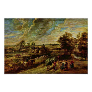 Return Of The Peasants From The Field By Rubens Poster