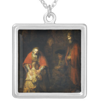 Return of the Prodigal Son by Rembrandt Square Pendant Necklace