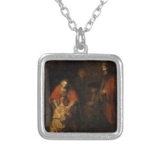 Return of the Prodigal Son by Rembrandt van Rijn Square Pendant Necklace
