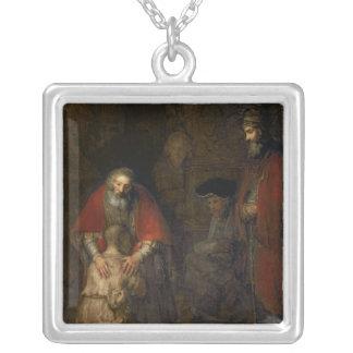 Return of the Prodigal Son, c.1668-69 Square Pendant Necklace