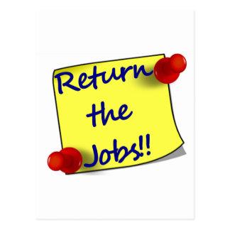 Return the Jobs!! Postcard