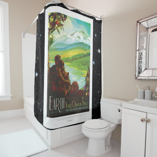 Return To Earth space tourism advert Shower Curtain