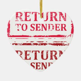 Return To Sender Grunge Stamp Ceramic Ornament