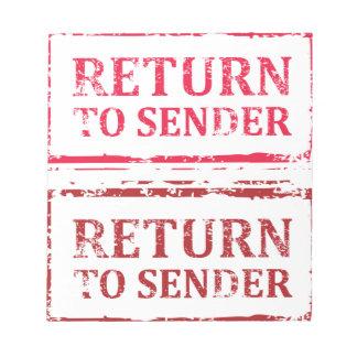 Return To Sender Grunge Stamp Notepad