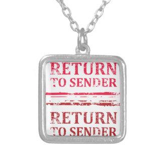 Return To Sender Grunge Stamp Silver Plated Necklace