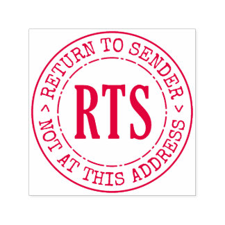 Return to Sender RTS Rubber Stamp Large Round Seal