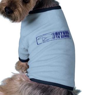 RETURN TO SENDER stamp in blue Pet T-shirt
