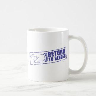 """""""RETURN TO SENDER"""" stamp in blue Mug"""