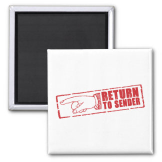 """""""RETURN TO SENDER"""" stamp in red 2 Inch Square Magnet"""