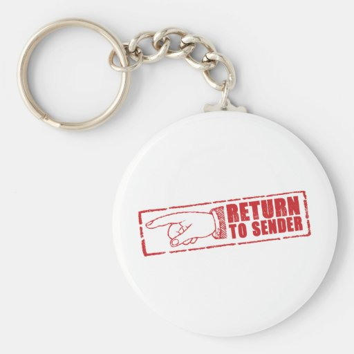 """RETURN TO SENDER"" stamp in red Keychain"