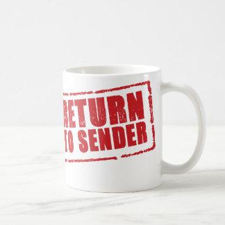 """RETURN TO SENDER"" stamp in red Mug"