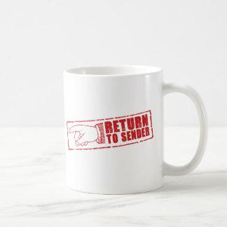 """""""RETURN TO SENDER"""" stamp in red Coffee Mugs"""