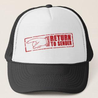 """RETURN TO SENDER"" stamp in red Trucker Hat"