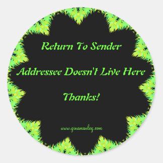 Return To Sender Sticker Round Sticker