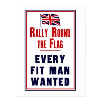 Reúnase alrededor del ~ de la bandera que cada postales