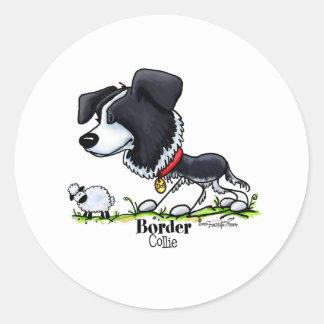 Reuniendo el perro - pegatinas del border collie pegatina redonda