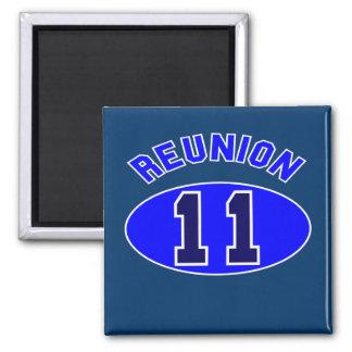 Reunión 2011 en azul imán de frigorífico
