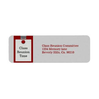 Reunión de antiguos alumnos del rojo del papel de etiqueta de remite