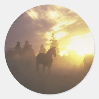 Reunión de caballos en puesta del sol pegatinas redondas