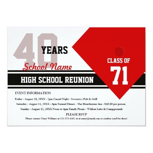 """Reunión de clase de secundaria adaptable invitación 5"""" x 7"""""""