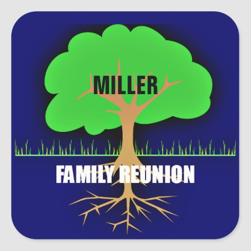 Reunión de familia/árbol de familia pegatina cuadrada