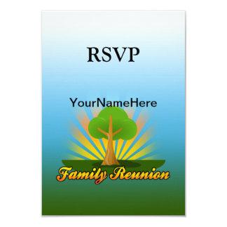 """Reunión de familia de encargo, árbol verde con los invitación 3.5"""" x 5"""""""