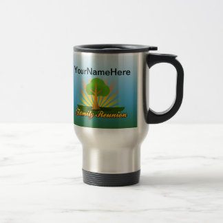 Reunión de familia de encargo, árbol verde con los tazas de café