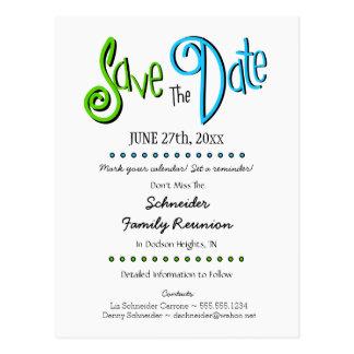Reunión de familia de la diversión o reserva del tarjetas postales