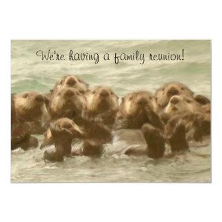 """Reunión de familia de la nutria de mar invitación 5"""" x 7"""""""