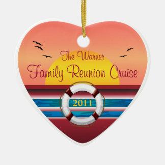 Reunión de familia de la travesía - plantilla de adorno navideño de cerámica en forma de corazón
