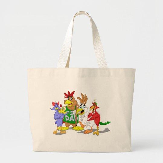 Reunión de familia de pájaro del dibujo animado bolsa de tela grande