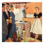 Reunión de familia del vintage, gente del fiesta d