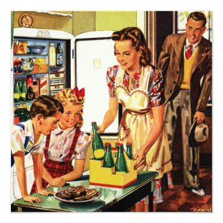 Reunión de familia del vintage, niños, bocado, invitación 13,3 cm x 13,3cm