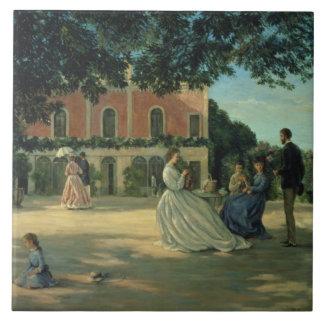 Reunión de familia en la terraza en Meric, 1867 Tejas