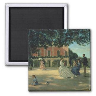 Reunión de familia en la terraza en Meric, 1867 Imán