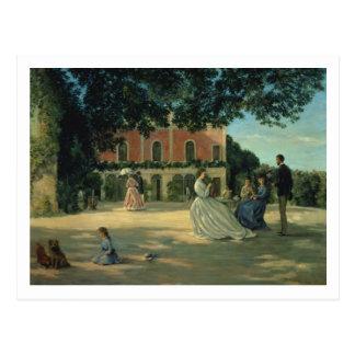 Reunión de familia en la terraza en Meric, 1867 Tarjetas Postales