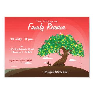 "Reunión de familia (roja) invitación 5"" x 7"""