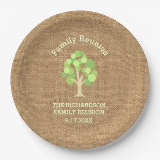 Reunión de familia verde rústica linda del árbol y plato de papel de 9 pulgadas