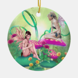 Reunión de hadas adorno navideño redondo de cerámica
