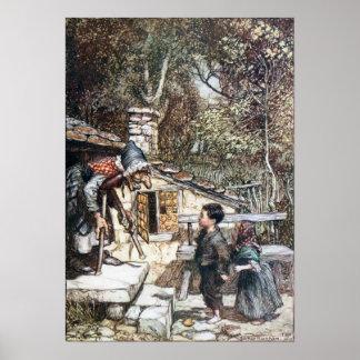 Reunión de Hansel y de Grethel la bruja Poster
