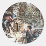 Reunión de Hansel y de Grethel la bruja Etiqueta Redonda