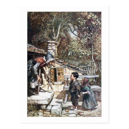 Reunión de Hansel y de Grethel la bruja Postal