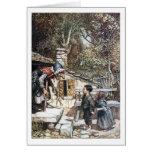 Reunión de Hansel y de Grethel la bruja Tarjeta