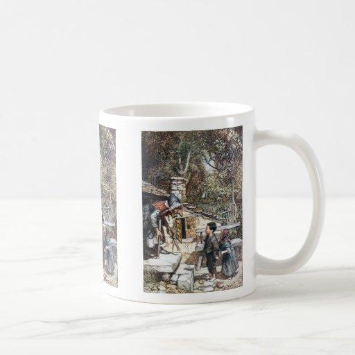 Reunión de Hansel y de Grethel la bruja Tazas De Café