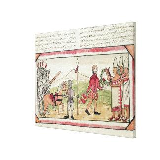 Reunión de Hernando Cortes y de Montezuma Lienzo Envuelto Para Galerías