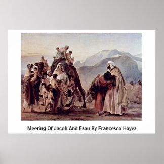 Reunión de Jacob y de Esau de Francesco Hayez Póster