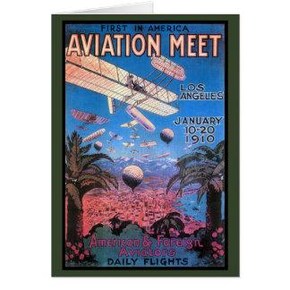 Reunión de la aviación del vintage en el poster de tarjeta de felicitación