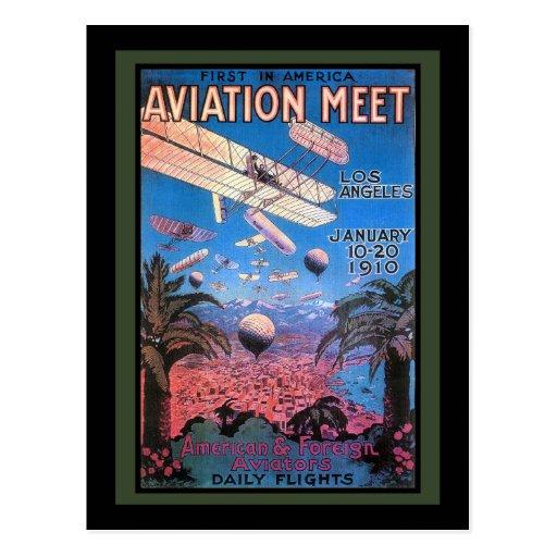 Reunión de la aviación del vintage en el poster de postales